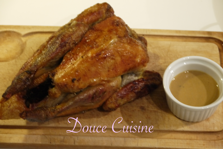 Pintade rôtie sauce foie gras